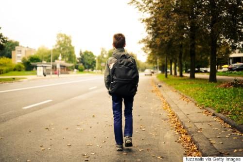 schoolboy walk alone